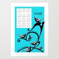 calendar 2015 Art Prints featuring 2015 calendar by Wee Jock