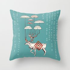 Rain Deer Throw Pillow