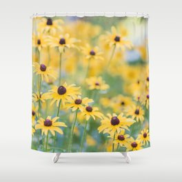 Sunny Disposition - Field of Wildflowers Photography Shower Curtain