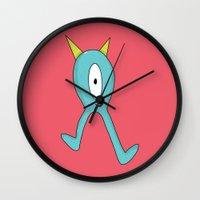 eddie vedder Wall Clocks featuring Eddie Monster by Chelsea Herrick