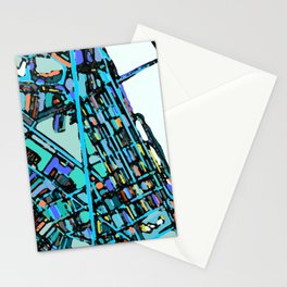 Boston Back Bay Abstract Map Stationery Cards