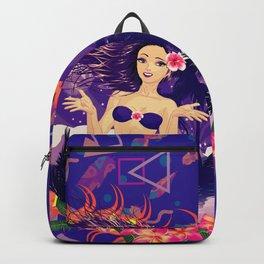 Island girl in violet bikini Backpack