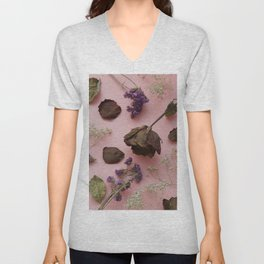Flourish pattern in pink Unisex V-Neck