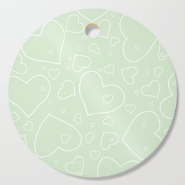 Palest Green and White Hand Drawn Hearts Pattern Cutting Board
