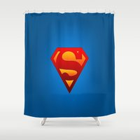 superhero Shower Curtains featuring SUPERHERO by Acus