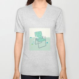 Retro Summer Lawn Chair and Croquet Unisex V-Neck