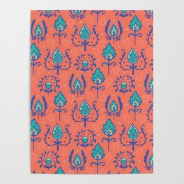 Red Ikat Doodle Pattern Poster