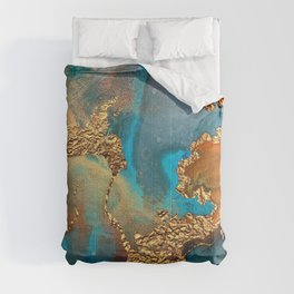 Abstract Blue And Gold Autumn Marble Comforters