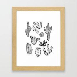 Cactus desert southwest palm springs festival house plant succulent terrarium black and white art Framed Art Print