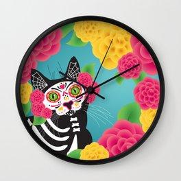 Gatos Dia de los Muertos Wall Clock