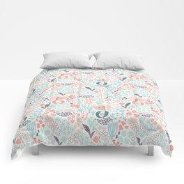 Coral and mermaid hand drawn digital pattern Comforters
