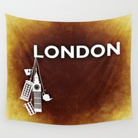 england Wall Tapestries featuring London, England  by Limitless Design