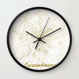 Luxembourg Map Gold Wall Clock