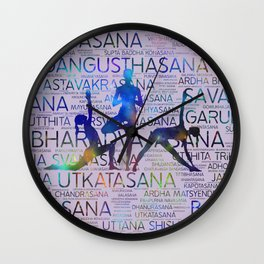 Yoga Asanas/Poses Sanskrit Word Art Wall Clock