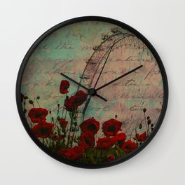Poppies and Pink Skies Wall Clock