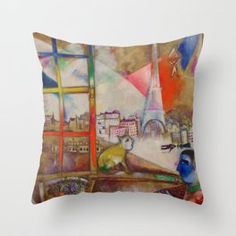 'Paris Through the Window - Eiffel Tower, Seine, & Left Bank' by Marc Chagall Throw Pillow