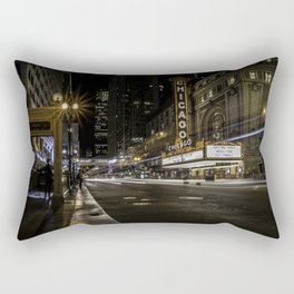 The Iconic Chicago theatre sign at night Rectangular Pillow