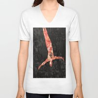 daredevil V-neck T-shirts featuring Daredevil poster by Slug Draws