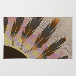 Boho Feather Sun and Wavy Lines Rug
