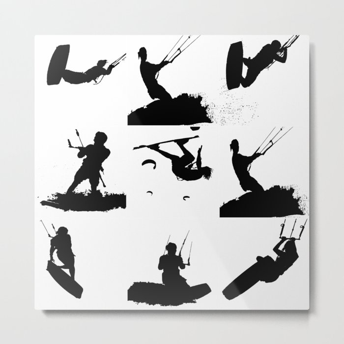 Wakeboarder Silhouette Collage Metal Print