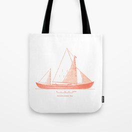 Conquer the sea on a red boat Tote Bag