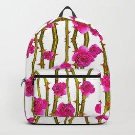 "FUCHSIA PINK ""ROSES & THORNS"" WHITE ART Backpack"