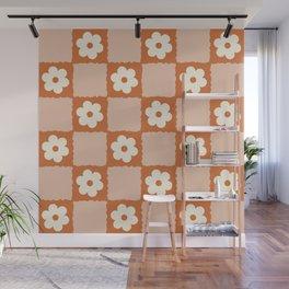 Flower Checker in Burnt Orange  Wall Mural