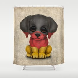 Cute Puppy Dog with flag of Germany Shower Curtain