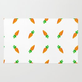 Hand painted green orange watercolor carrots pattern Rug
