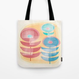 Three Flowers in Retro Style Tote Bag