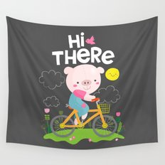 Pig on a bike Wall Tapestry