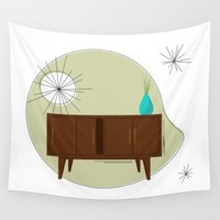 eames Wall Tapestries featuring Credenza by MidPark Prints