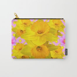 Yellow Daffodils & Pink Roses Abstract Carry-All Pouch