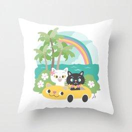 Popoki Tomodachi - Road Trip Throw Pillow