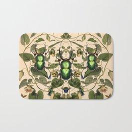 Green Stag Beetle Botanical Pattern Bath Mat