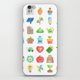 CUTE GREEN / ECO / RECYCLE PATTERN iPhone Skin