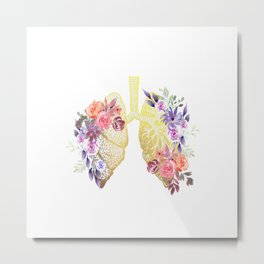 Floral Lungs Anatomy  Metal Print