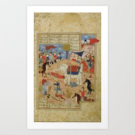 Bahram Chubina cutting off Sava Shah's head after defeating him, Persia, Shiraz, mid-16th century Art Print