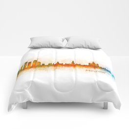 Moscow City Skyline art HQ v3 Comforters