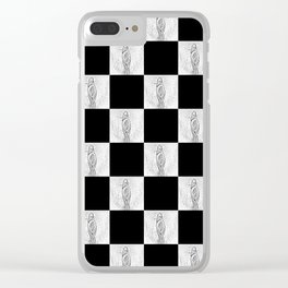 Checkerboard Pussy Clear iPhone Case