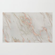 Marble - Rose Gold Marble Metallic Blush Pink Rug