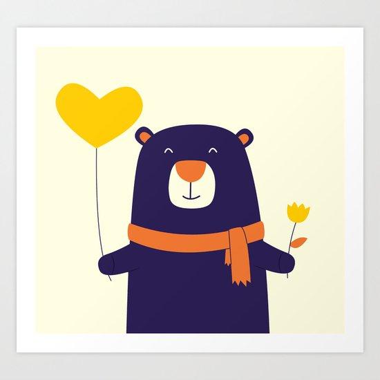 Purple Bear is Here Art Print