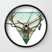 runner Wall Clocks featuring scarlet runner by Vin Zzep