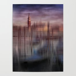 City-Art VENICE Gondolas at Sunset Poster