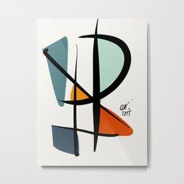 Abstract Minimal Lyrical Expressionism Art Blue Orange Metal Print
