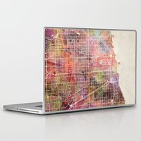 chicago map Laptop & iPad Skins featuring Chicago map by MapMapMaps.Watercolors