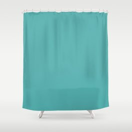 Solid Color Dark Pastel Teal Pairs to Pantone 15-5217 Blue Turquoise Shower Curtain