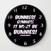 bunnies Wall Clocks featuring Bunnies by Nana Leonti