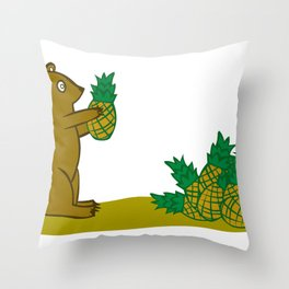 Pineapple Harvesting Bear Throw Pillow