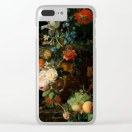 """Jan van Huysum """"Still life with flowers and fruits"""" Clear iPhone Case"""